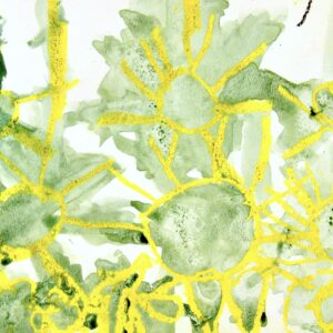 Yellow suns with green watercolor outlines on a white background