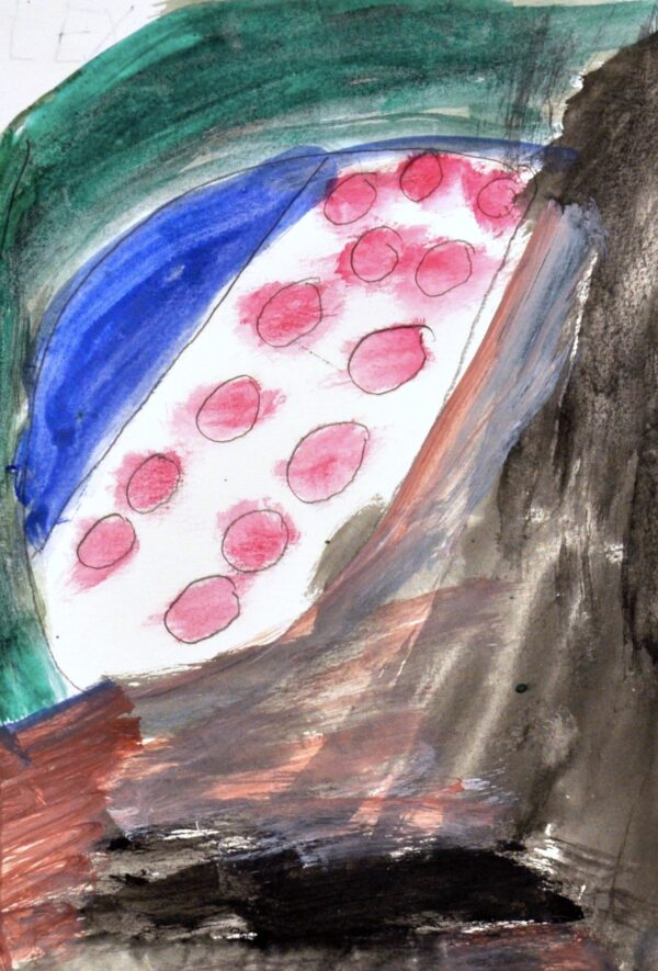 Alt Text: Abstract piece. In center, white oval with pink polka-dots. Surrounding oval are brush strokes of black, green, blue and orange.