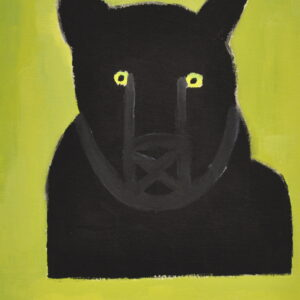 Alt Text: Portrait of the chest and head of a black bear with green eyes facing the viewer. On a background of olive green. Bottom left corner has the signature of the artist.