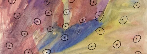 Abstract painting of multicolor brush strokes of pink, red, blue, yellow, purple and beige. Black sharpie circles with black dots in the center scattered around the page.