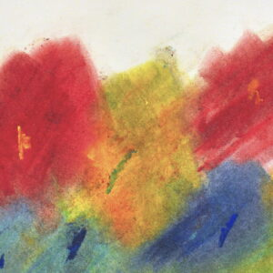 Abstract piece with multi-color chalk pastel on light tan background. Chalk pastel of red, yellow, blue , green.