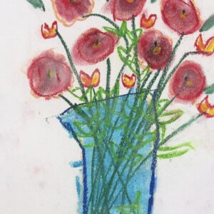Chalk pastel drawing of flower bouquet in a vase. Vase is light blue and in the shape of a vertical rectangle. Stems are dark green with light green leaves. Two different flower types fill the vase: the first is red buds in circular shapes and the second is small pointed yellow buds with a red outline. Alt Text: Chalk pastel drawing of flower bouquet in a vase. Vase is light blue and in the shape of a vertical rectangle. Stems are dark green with light green leaves. Two different flower types fill the vase: the first is red buds in circular shapes and the second is small pointed yellow buds with a red outline. Background is white paper.