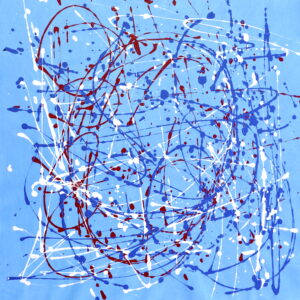 Abstract acrylic painting on light blue canvas. Multicolor splatter-style paint in dark blue, burgundy and white.