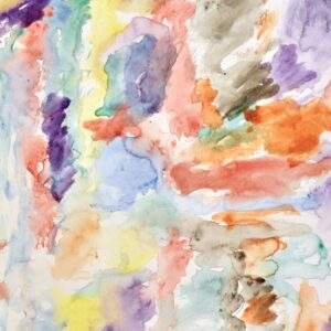 Abstract watercolor of light-colored watercolor brushstrokes on white background. Colors included are red, orange, yellow, purple, black, green, and blue.