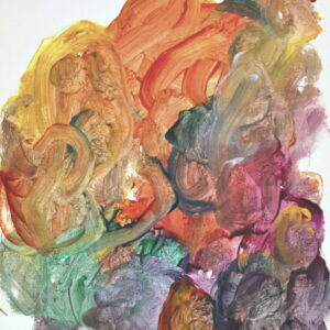 Multi-colored acrylic paint swirled on white canvas. Paint in orange, yellow, gray, green, magenta, purple, and dark blue.