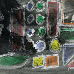 Various shapes with white outlines drawn on-top of black and gray shaded background. Shapes included are circles, squares, triangles, ovals, and rectangles. Colors of shapes include green, yellow, orange, red, and blue.