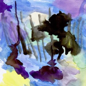 Abstract watercolor painting with various colors: light purple, dark purple, yellow, green, black and medium-blue.