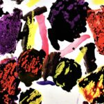 Abstract black watercolor circular brushstrokes painted across white-background. On top of black paint are various oil-pastel markings in yellow, red and purple. A few scattered brushstrokes of red, yellow and purple watercolor through the piece.