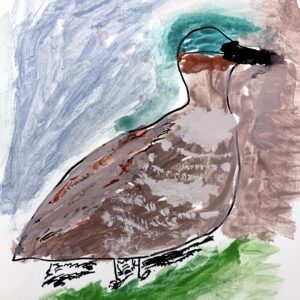 In the center of the page is a side-view of a painted duck facing the left. Duck's body is outlined in black sharpie and painted using varying shades of brown. It has a a sea-foam green head and black beak. Top-left background is painted gray-blue, top-right of background is painted light-brown, and bottom of background is painted light-green.
