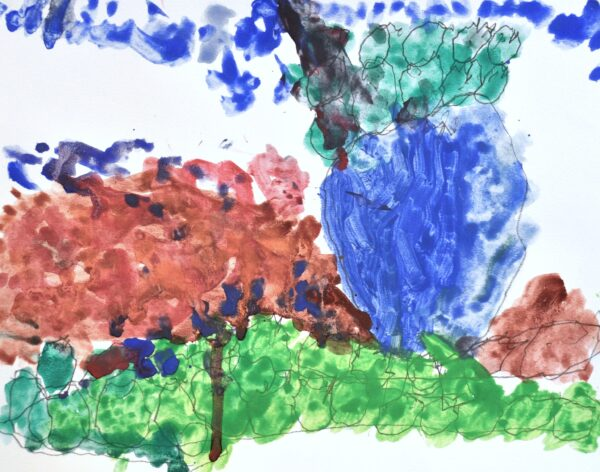 Abstract painting of green circular apples in a blue bowl on center-right of the page sitting on paint strokes of reddish-brown and lime-green on a white background.