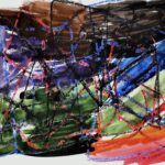 Abstract multi-color watercolor painting on white paper in sections of red, orange, purple, blue, brown and black. Layered on top are oil-pastel lines in alternating directions in blue, black and red.