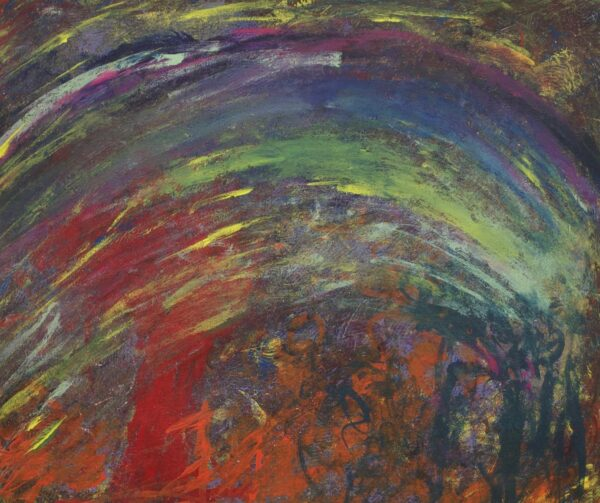 Abstract rainbow and multicolor brushstrokes over page in red, orange, yellow, green, black, gray, magenta. A large arch of multicolor brushstrokes sits in the center of the page.