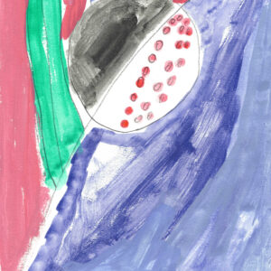 Abstract painting. Diagonal line from left bottom corner to top right corner. Left of diagonal is painted pink with a green and blue stripe. Right of diagonal is blue. Circle in the center of the page. One half of the circle is painted black, one half is white with pink dots.