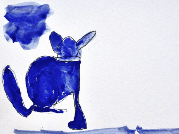 Painting on a white background of a royal blue colored dog figure on the left side of the page facing away from the viewer. A blue cloud is painted on the top-left corner.