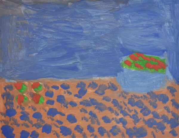 Top- half of background is painted dark-blue. Bottom-half is painted brown with dark blue circles. Blue bowl with red apples sits in the center of the page to the right. 4 red apples sit in the center of the page on the left-side.