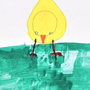 A painting of a yellow baby chick with an orange nose in the center of the page looking down onto green grass.