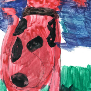 Background has blue sky on the top, and green grass on the bottom, white center. Foreground is the back of Clifford the Dog. A large red dog with black spots, looking towards the sky.