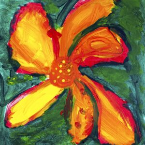 Painting of a vibrant yellow, orange and red hydrangea with curved petals on a painted background of various shades of green blended together.