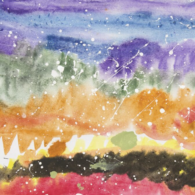 Abstract landscape painting with horizontal stripes of various colors. From Bottom to top: red, black, orange, yellow, orange, green, purple, blue, purple. Layered on top of painting are small amounts of white splatter paint.