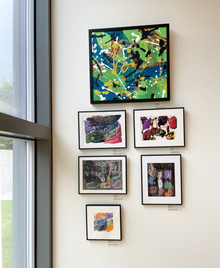 Gallery wall with six abstract painting